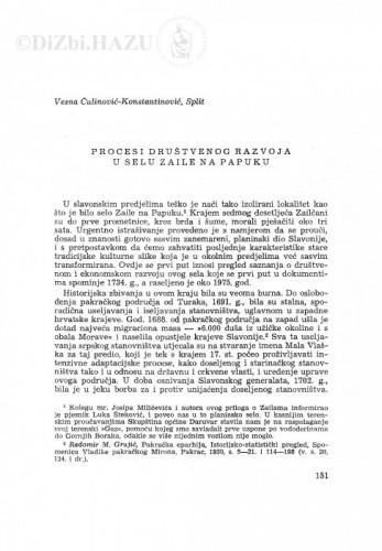 Procesi društvenog razvoja u selu Zaile na Papuku / V. Čulinović-Konstantinović