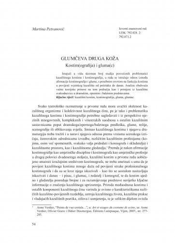 Glumčeva druga koža : kostim(ografija) i gluma(c) / Martina Petranović