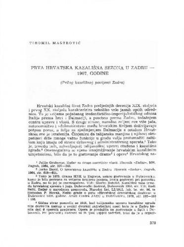 Prva hrvatska kazališna sezona u Zadru 1907. godine : (prilog kazališnoj povijesti Zadra) / Tihomil Maštrović