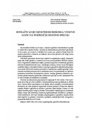 Istraživanje genetskih resursa vinove loze na području Rudine (Psunj) / Ivan Pejić, Edi Maletić