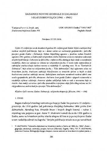 Zadarske novine Giornale di Dalmazia i Glas dobrovoljca (1941. - 1943.) / Tatijana Petrić