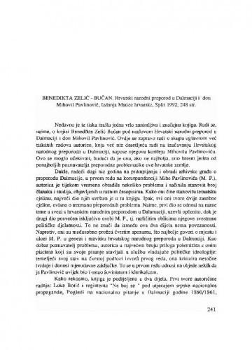 Benedikta Zelić-Bučan: Hrvatski narodni preporod u Dalmaciji i don Mihovil Pavlinović. Split, 1992. / Šime Peričić