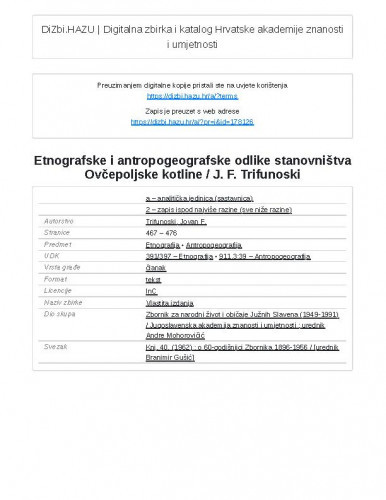 Etnografske i antropogeografske odlike stanovništva Ovčepoljske kotline / J. F. Trifunoski