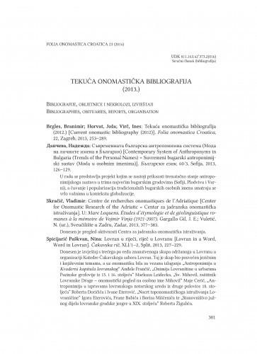 Tekuća onomastička bibliografija (2013.) / Branimir Brgles, Joža Horvat, Ines Virč