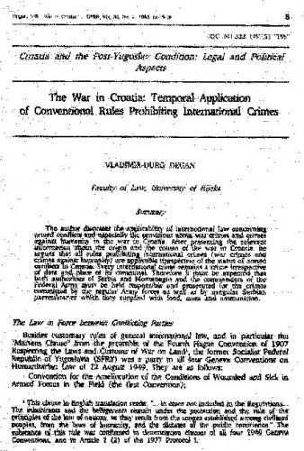 The war in Croatia : Temporal application of conventional rules prohibiting international crimes / Vladimir-Đuro Degan