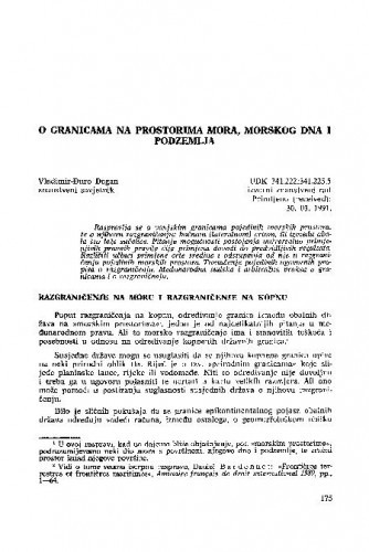 O granicama na prostorima mora, morskog dna i podzemlja / Vladimir-Đuro Degan