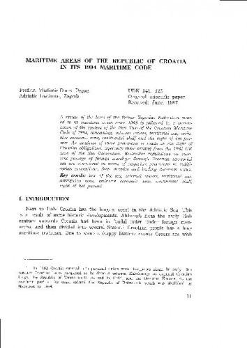 Maritime Areas of the Republic of Croatia in its 1994 Maritime Code / Vladimir-Djuro Degan