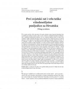 Prvi svjetski rat i vrlo teške višedesetljetne posljedice za Hrvatsku : prilog za sintezu / Petar Strčić