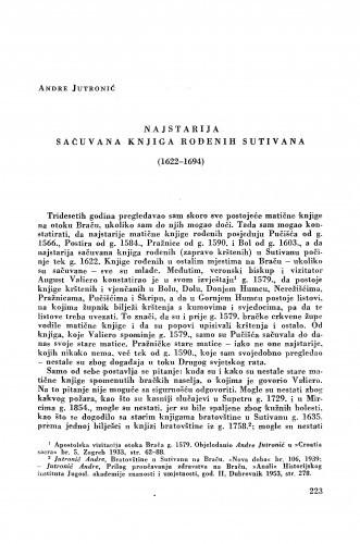 Najstarija sačuvana knjiga rođenih Sutivana (1622-1694) / Andre Jutronić