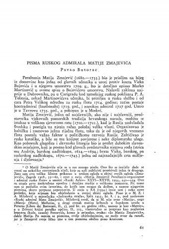 Pisma ruskog admirala Matije Zmajevića / Matija Zmajević ; priopćio Pavao Butorac