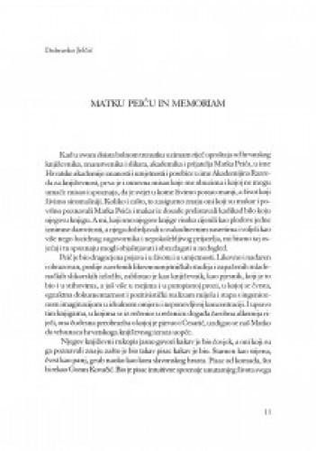 Matku Peiću in memoriam : govor na ispraćaju na Mirogoju 9. studenoga 1999.