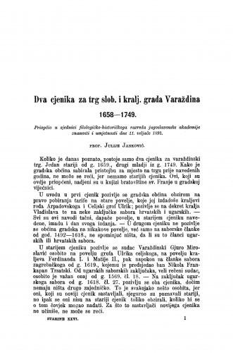 Dva cjenika za trg slob. i kralj. grada Varaždina 1658-1749. / Julije Janković