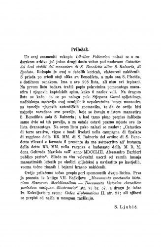 Libellus Policorion, qui Tipicus vocatur : priložak: listina spljetskoga nadbiskupa Lovra od god. 1069. i opatice Marije god. 1119. / Sime Ljubić