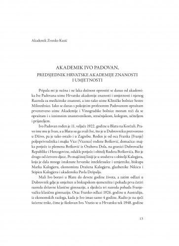Akademik Ivo Padovan : predsjednik Hrvatske akademije znanosti i umjetnosti / Zvonko Kusić