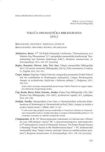 Tekuća onomastička bibliografija (2012.) / Branimir Brgles, Joža Horvat, Ines Virč
