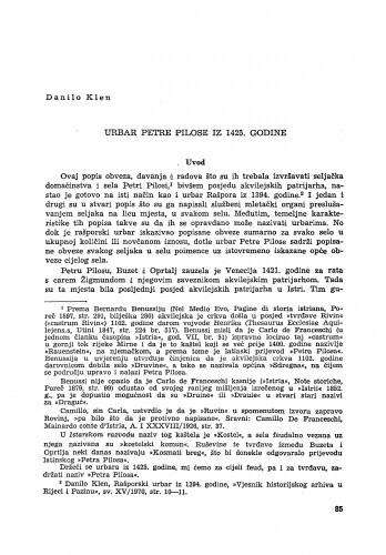 Urbar Petre Pilose iz 1425. godine / Danilo Klen