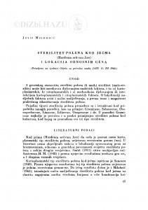 Sterilitet polena kod ječma (Hordeum sativum Jess) i lokacija odnosnih gena / J. Milohnić