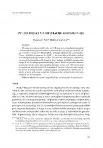 Psihijatrijske manifestacije akromegalije / Vjekoslav Peitl, Dalibor Karlović