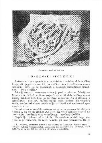 Lokrumski spomenici / Cvito Fisković
