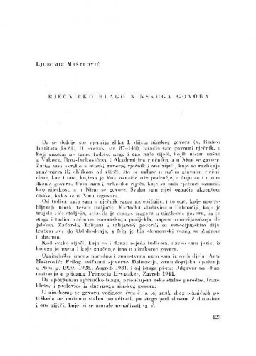 Rječničko blago ninskoga govora / Ljubomir Maštrović