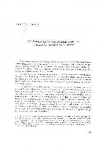 Poljoprivreda zadarske komune u ranom srednjem vijeku / Nikola Čolak