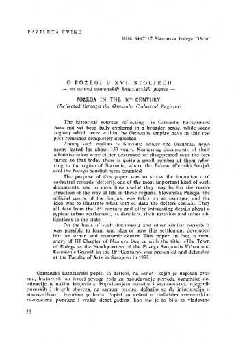 O Požegi u XVI. stoljeću : na osnovi osmanskih katastarskih popisa / Fazileta Cviko