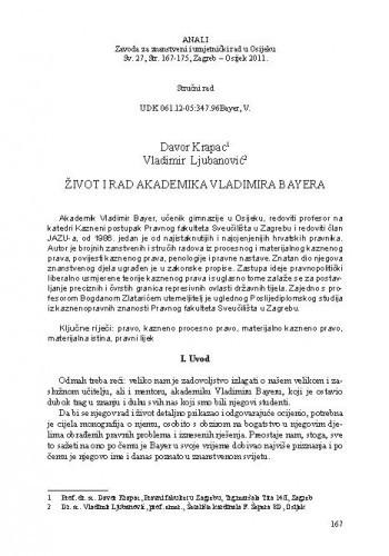 Život i rad akademika Vladimira Bayera / Davor Krapac, Vladimir Ljubanović