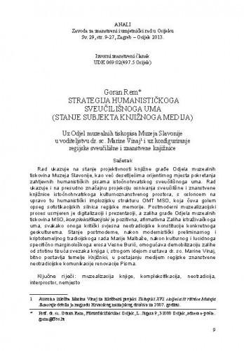 Strategija humanističkoga sveučilišnoga uma (stanje subjekta knjižnoga medija) / Goran Rem