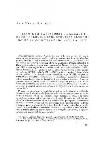 Ribanje i ribarski obrt u Dalmaciji druge polovine XVIII. stoljeća gledani očima jednog zapadnog naturaliste / Ante Marija Strgačić