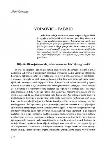 Vojnović - Fabrio / Mani Gotovac