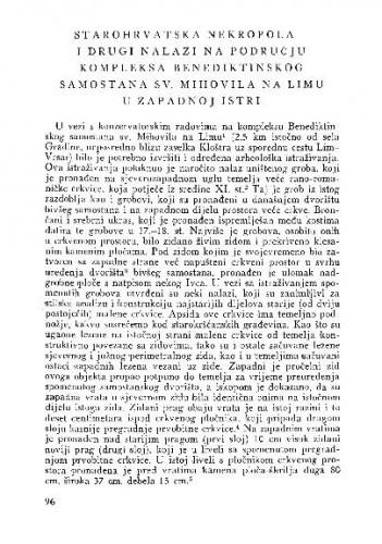 Starohrvatska nekropola i drugi nalazi na području kompleksa benediktinskog samostana Sv. Mihovila na Limu u zapadnoj Istri / Ante Šonje