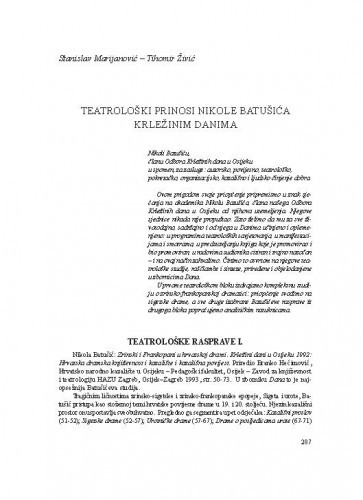 Teatrološki prinosi Nikole Batušića Krležinim danima / Stanislav Marijanović, Tihomir Živić