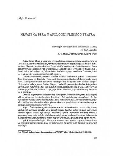 Hrvatska pera u apologiji plesnog teatra / Maja Đurinović