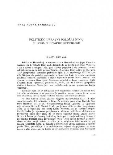 Političko-upravni položaj Nina u doba Mletačke Republike / Maja Novak-Sambrailo