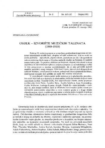 Osijek - izvorište glazbenih talenata : (1880-1910) / Gordana Gojković