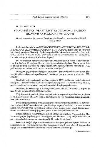 Mažuran, Ive: Stanovništvo i vlastelinstva u Slavoniji i njihova ekonomska podloga 1736. godine. Osijek, 1993. / Đuro Berber