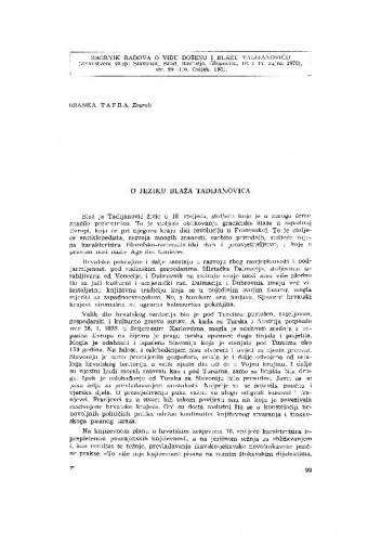 O jeziku Blaža Tadijanovića / B. Tafra