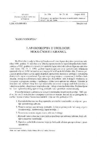 Laparoskopija u urologiji : mogućnosti i granice / Nado Vodopija