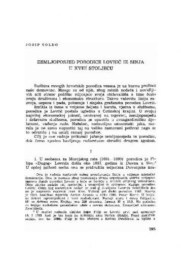 Zemljoposjed porodice Lovrić iz Sinja u XVIII stoljeću / Josip Soldo