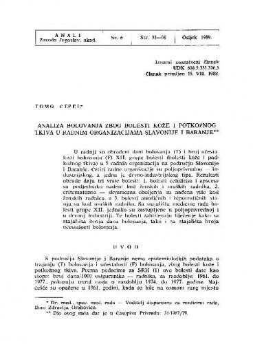 Analiza bolovanja zbog bolesti kože i potkožnog tkiva u radnim organizacijama Slavonije i Baranje / Tomo Čepel