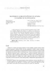 Matrikula Bratovštine zlatara u Zadru iz 15. stoljeća / Zdenko Dundović
