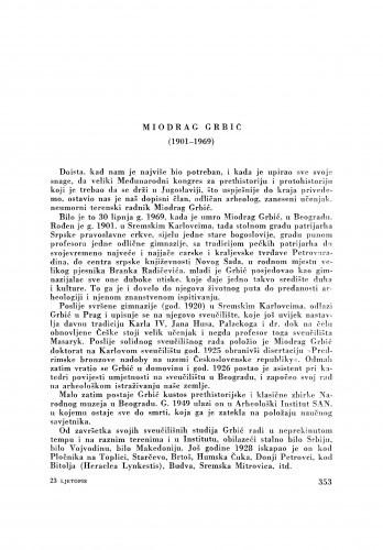 Miodrag Grbić (1901-1969) : [nekrolog] / G. Novak