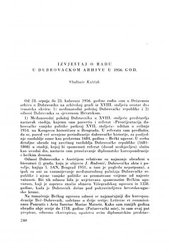 Izvještaj o radu u dubrovačkom Arhivu u 1956. god. / V. Košćak