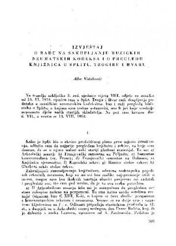Izvještaj o radu na sakupljanju muzičkih neumatskih kodeksa i o pregledu knjižnica u Splitu, Trogiru i Hvaru / A. Vidaković