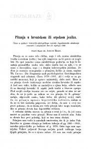 Pitanja u hrvatskom ili srpskom jeziku / A. Musić