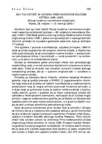Sav taj crtež. 40 godina međunarodne izložbe crteža 1968.-2009. (Muzej moderne i suvremene umjetnosti, Rijeka, 26. veljače - 19. travnja 2009.) : [likovna kronika] / Ivica Župan