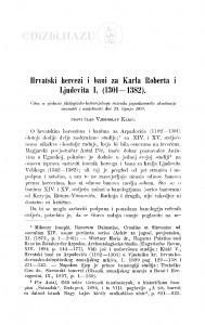 Hrvatski hercez i bani za Karla Roberta i Ljudevita I. (1301-1382) / V. Klaić