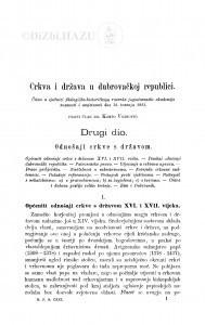 Crkva i država u dubrovačkoj republici : drugi dio. [Primjetbe drugome dijelu] / K. Vojnović