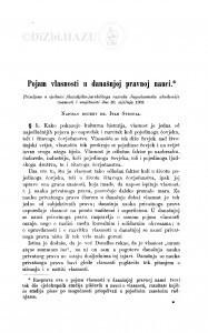 Pojam vlasnosti u današnjoj pravnoj nauci / I. Strohal