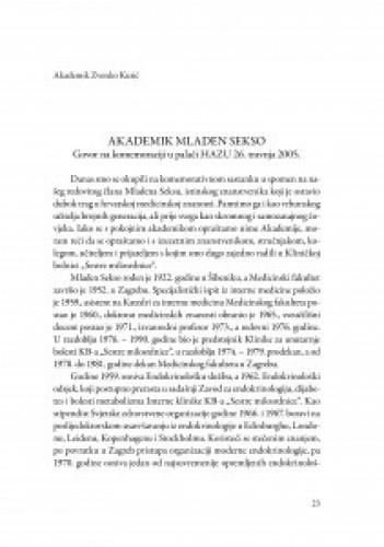 Akademik Mladen Sekso : govor na komemoraciji u palači HAZU 26. travnja 2005. / Zvonko Kusić